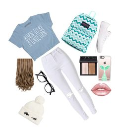 """Just Hanging Out "" by annagrayce1 on Polyvore featuring JanSport, Converse, NARS Cosmetics, Casetify, Lime Crime and Kate Spade"