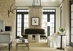 Suzie: Bella Casa Design - Modern French living room with exposed brick wall, French doors & . French Living Rooms, My Living Room, Small Living, Living Room Decor, Living Spaces, Living Area, Modern Living, Exposed Brick Walls, Whitewashed Brick