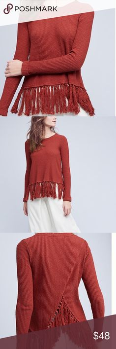 Anthropologie Tassel Pullover Size XS. Burnt orange/red Anthropologie (Eri + Ali) tasseled pullover. Rubbed. Cuffed sleeves. Drape back. Worn once for vacation. Anthropologie Sweaters Crew & Scoop Necks