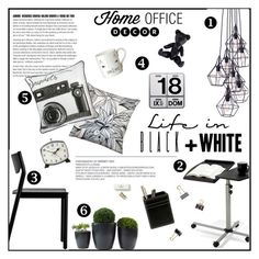 """""""Home Office = Black + White"""" by einn-enna ❤ liked on Polyvore featuring interior, interiors, interior design, home, home decor, interior decorating, Dot & Bo, Pillow Decor, Graham & Brown and Donna Wilson"""