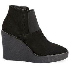 Aquatalia Veera Suede Wedge Ankle Boots ($395) ❤ liked on Polyvore featuring shoes, boots, ankle booties, black, black wedge ankle booties, wedge ankle boots, black suede boots, black wedge booties and black platform booties