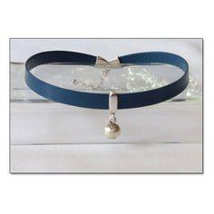 Kitten Sterling Bell Blue Leather Collar Choker BDSM Collar Submissive... ($28)…