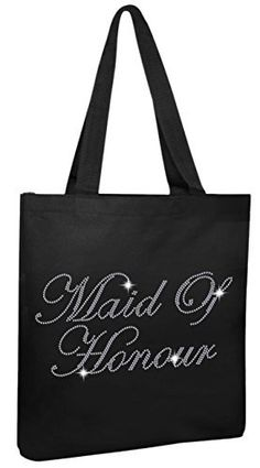 New Trending Tote Bags: Varsany Black Maid Of Honour Luxury Crystal Bride Tote bag wedding party gift bag Cotton. Varsany Black Maid Of Honour Luxury Crystal Bride Tote bag wedding party gift bag Cotton   Special Offer: $12.99      411 Reviews Crystal Bridal Gift BagsStyle:- Hand Crafted Crystal Bridal Tote BagsQuantity:- 1 Tote BagSize:- Bag – 41cm x 35cm, Handle to bottom of bag – 71cm x...