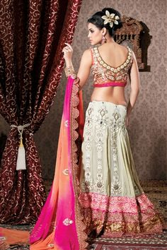 pale cream & pink color lehenga choli