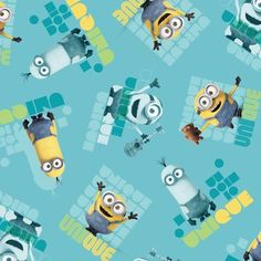 MINIONS TURQUOISE UNIQUE TOSS Item# 24315-Q  Minions Movie Quilting Fabric - Buy at Tea Time Quilting $10.95 per yard