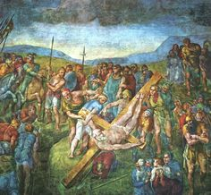 The Crucifixion of St Peter fresco painting in Vatican Palace 1546 - 1550