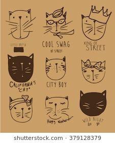 cutie fashion cat illustration set