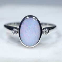 Australian Solid Boulder Opal and Diamond Silver Ring - Size 8 Code - RS73 Silver Opal Ring, Opal Rings, Gemstone Rings, Silver Rings, Green Opal, Pink Opal, Natural Opal, Natural Diamonds, Diamond Mines