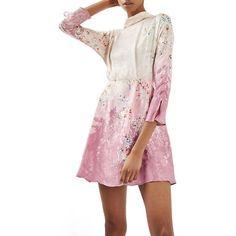 Women's Topshop Jacquard Floral Print Dress (5.955 RUB) ❤ liked on Polyvore featuring dresses, light pink multi, floral day dress, pink jacquard dress, flower printed dress, light pink floral dress and blossom dress