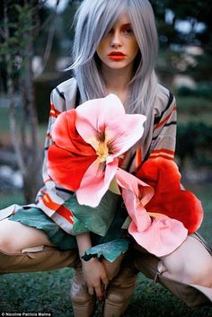Grey hair with a violet hue looks stylish in this image posted by Nicoline Patricia Malina...