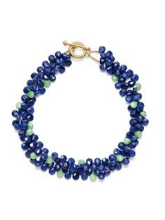 KEP | Navy Blue & Mint Green Quartz Double Strand Necklace