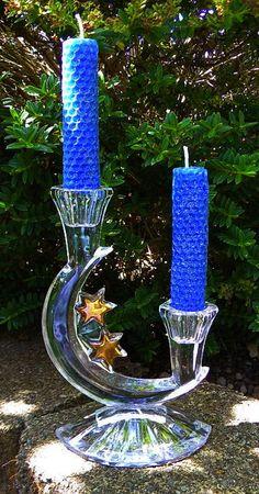 ☆ Rare Vintage Pagan Altar Mikasa Golden Stars Crystal Crescent Moon Candelabra Candle Holder :¦: Etsy Shop: MoonlitHerbals ☆