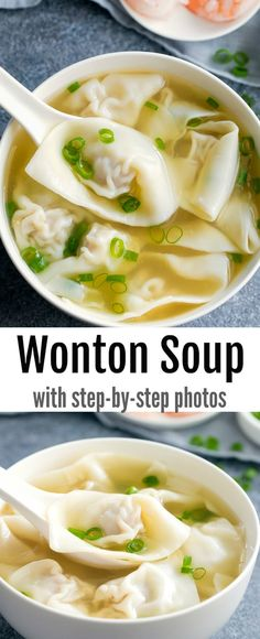 Homemade Chinese wonton soup is easy and tastes better than take-out. Plus step-by-step photo tutorial for wrapping wontons. Recipes step by step Wonton Soup Asian Recipes, New Recipes, Dinner Recipes, Cooking Recipes, Favorite Recipes, Wonton Recipes, Asian Soup, Healthy Snacks, Healthy Recipes