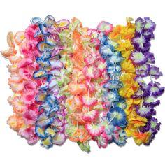 50 pc Hawaiian Lei Assortment Jumbo Silk Flower Luau Party Favor Lot Beach #LuauBeachParty
