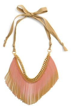 Search Shopping Bag [0]Menu Main Content Juicy Couture's 'Wanderlust' Gradient Fringe Necklace  Ombre with cotton thread and brass chain [sold out]