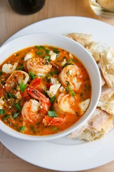 Tourkolimano ~ Greek shrimp cooked in a tomato, garlic, herbs and wine sauce that is finished off with feta cheese.Garides Tourkolimano ~ Greek shrimp cooked in a tomato, garlic, herbs and wine sauce that is finished off with feta cheese. Shrimp Recipes, Fish Recipes, Soup Recipes, Cooking Recipes, Healthy Recipes, Greek Food Recipes, Salmon Recipes, Drink Recipes, Think Food