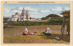 Vintage Linen Postcard San Xavier Mission Papago Native American Indian Arizona   eBay