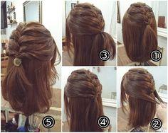 """ถูกใจ 233 คน, ความคิดเห็น 1 รายการ - nest hairsalon (@nest_hairsalon) บน Instagram: """"シンプル編み込み ハーフアップ ① トップを編み込んでいきます。3、4回編み込んだらゴムで留めます。 ② フロントからサイドの髪を両側からとり… ③ 後ろで結びます。 ④ それをくるりんぱ。 ⑤…"""" French Braid Buns, Hair Dos, Pretty Hairstyles, Short Hair Styles, Braids, Makeup, Instagram Posts, Tips, Nest"""