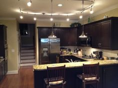 Kitchen track lighting with pendants.  Flex track perfect for our new kitchen!  And from Home Depot.