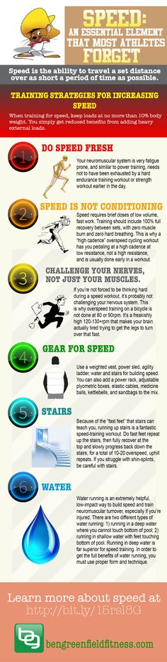 Know the training, food, supplement and gear strategies for increasing power and you're 99% of the way to also being able to increase speed. This infographic shows why speed is also important in an endurance training program.
