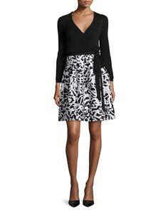 TAPFU Diane von Furstenberg Jewel Leaf-Print Wrap Dress
