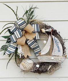 Sail Boat Wreath Ocean Wreath Beach House by TheChicyShackWreaths