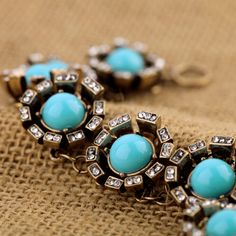 Vintage Alloy Bracelet With Blue Artificial Gemstones - View All - New In