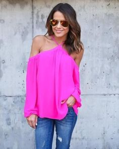 Halter Off-shoulder Long Sleeves Loose Street Chic Blouse