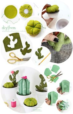 Ideas For Embroidery Cactus Pin Cushions Felt Diy, Felt Crafts, Crafts To Make, Fabric Crafts, Crafts For Kids, Felt Flowers, Diy Flowers, Paper Flowers, Easy Sewing Projects