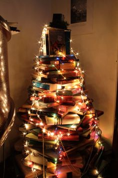Book tree. Made, decorated and photographed by our staff in December 2012.