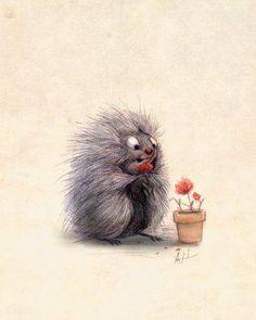 Porcupine Eating Geraniums Art Print by Sydwiki