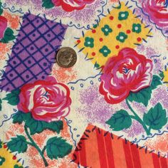 Vintage Floral Cotton Fabric / Patchwork Floral by GoldenDaffodils