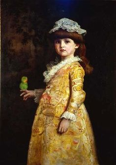 Painting of girl with bird by John Everett Millias