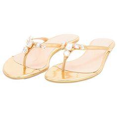 Sandália rasteira specchio cristais dourado LUIZA BARCELOS