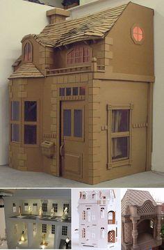 Great way to reuse your cardboard. Cardboard House by Kate Wignall. Cardboard Box Houses, Cardboard City, Cardboard Playhouse, Cardboard Design, Cardboard Sculpture, Cardboard Paper, Cardboard Furniture, Cardboard Crafts, Paper Houses