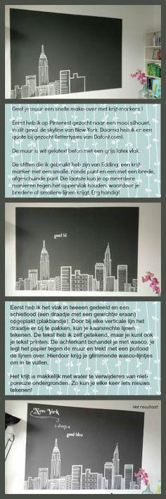 Tekening van de skyline van New York op latex muur m.b.v. krijt-markers. Erg leuk om te doen en makkelijk om te verwijderen!