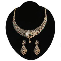 Floral Design Rich Look CZ Multi Color Stones Wedding Choker Imitation Necklace Collar Necklace, Necklace Set, Indian Necklace, Gold Plated Necklace, Stones And Crystals, Clear Crystal, Earring Set, Dangle Earrings, Floral Design