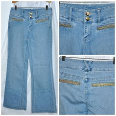 Cache Womens Jeans Size 2 Small S Blue w Gold tone Embellishments Buttons #Cach #BootCut