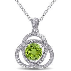 Miadora Sterling Silver Peridot and 1/10ct TDW Diamond Necklace ($118) ❤ liked on Polyvore featuring jewelry, necklaces, green, cable chain necklace, long chain necklace, peridot necklace, round pendant necklace and diamond necklace