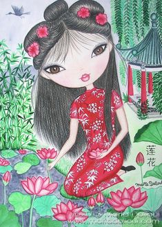 """'Chinese Girl w' Lotus Flower' Art Print 8""""x10"""" by 'MartaDalloul' on Etsy $15.00<3<3EXOTIC BEAUTY<3<3"""