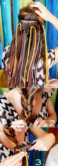 Put strands of yarn into your hair before making a fishtail braid! I can't wait till my hair is long like this! It'll prob be 3 yes till my hair grows lol Pretty Hairstyles, Girl Hairstyles, Braid Hairstyles, Pirate Hairstyles, Festival Hairstyles, Latest Hairstyles, Corte Y Color, Great Hair, Awesome Hair