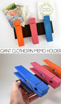 Keep track of memos, photos, receipts and all sorts of important things with this fun memo holder. Giant clothespins are so much fun!