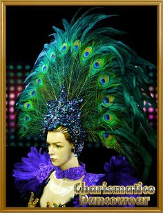 CHARISMATICO PEACOCK GREEN Drag QUEEN CARNIVAL Feather DIVA Pageant Headdress #Charismatico