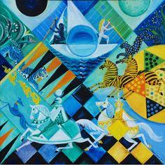 'Blue Moon Games' - oil on linen by Dahlov Ipcar, 2006