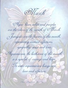 March - Each fairy is dressed in associated colors and surrounded by flowers of the birth month, seated on a birthstone crystal ball, holding gemstone wand. Aries Birthstone, March Pisces, March Baby, Hello March, Unicorn Fantasy, Birth Flowers, Beautiful Fairies, Birth Month, Fairy Art