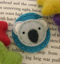 NO SLIP Wool felt hair clip -Koala -baby -teal