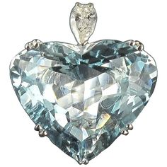 French Aquamarine Heart Pear Diamond Gold Ring   From a unique collection of vintage cocktail rings at https://www.1stdibs.com/jewelry/rings/cocktail-rings/