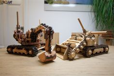 Bagger und Bulldozer aus Holz Cannon, Toys, Wooden Toy Plans, Crafting, Ideas, Activity Toys, Clearance Toys, Gaming, Games