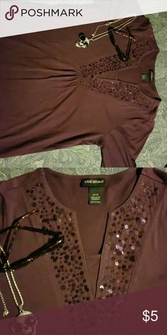 Lane bryant SS 100%cotton purple shirt Beautiful iridescent purple sequence in various sizes lines the V neck that is modest  yet sassy :-) Lane Bryant Tops Tunics