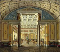 Edward Petrovich Hau,  Interiors of the New Hermitage. The Room of Cameos, 1854.